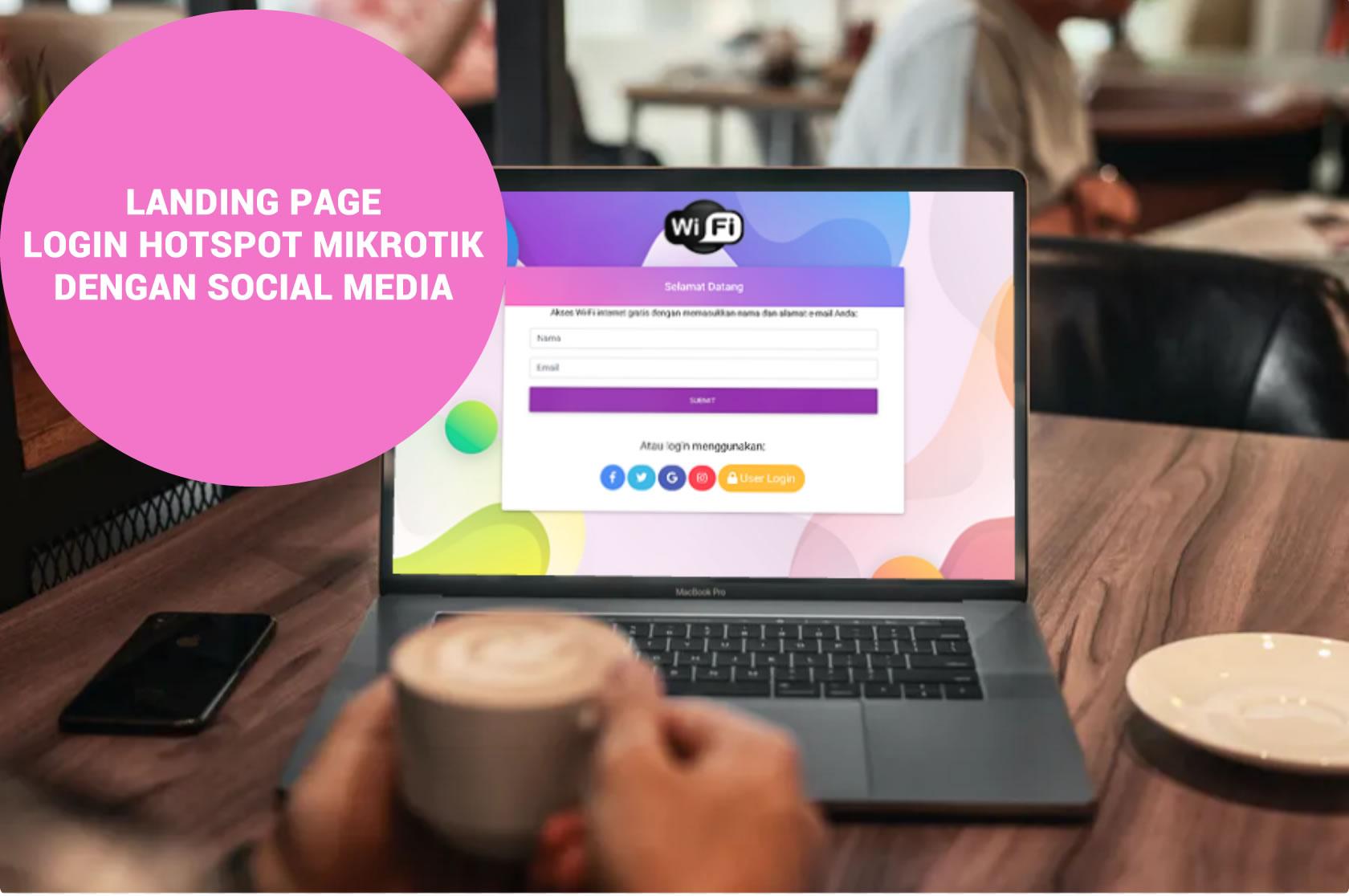 Landing page login hotspot mikrotik dengan media social